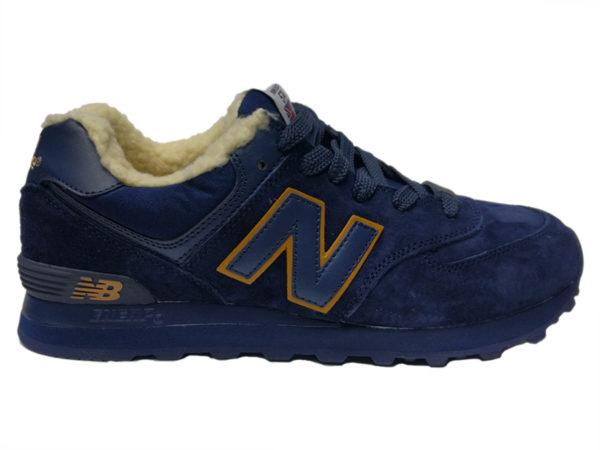 New Balance 574 на меху темно-синие с коричневым (35-46)