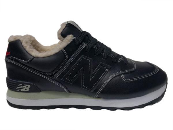 Зимние New Balance 574 Leather черные с белым