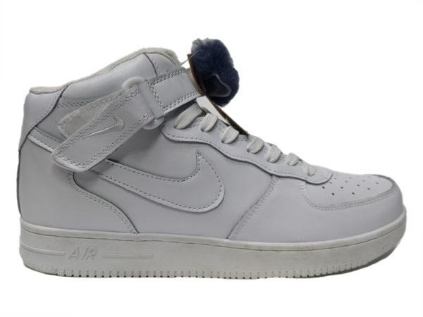 Nike Air Force 1 Mid на меху белые (35-46)