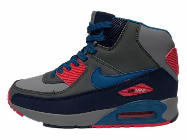 Зимние Nike Air Max 90 Mid серые с красно-синим