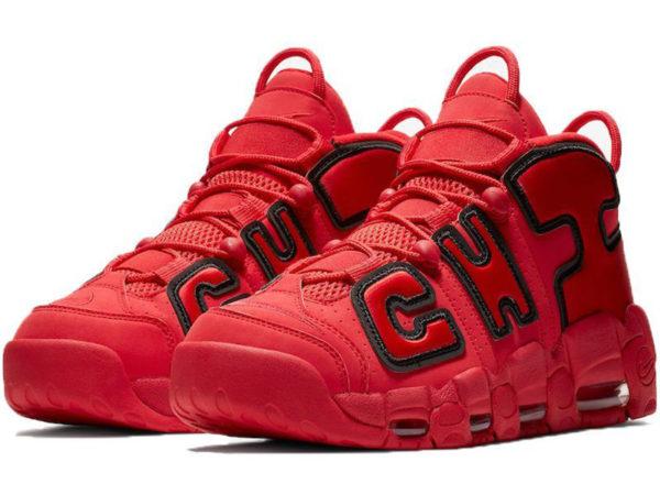 Nike Air More Uptempo Chicago Bulls красные с черным (40-46)