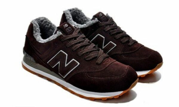 Зимние NEW BALANCE 574 с мехом замша With Fur Brown (36-45)