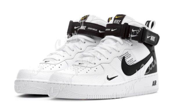 Nike Air Force 1 Mid 07 LV8 Utility белые с черным (35-44)