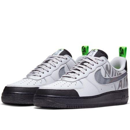 Nike Air Force 1 '07 LV8 бело-серые с черным кожаные мужские (40-44)