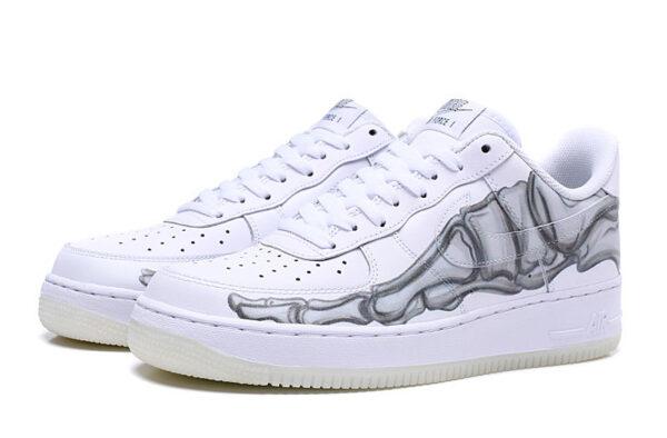 Nike Air Force 1 07 LV8 белые-скелет кожаные мужские (40-44)