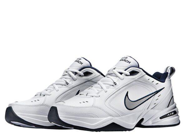 Nike Air Monarch белые с синим кожаные мужские (40-44)