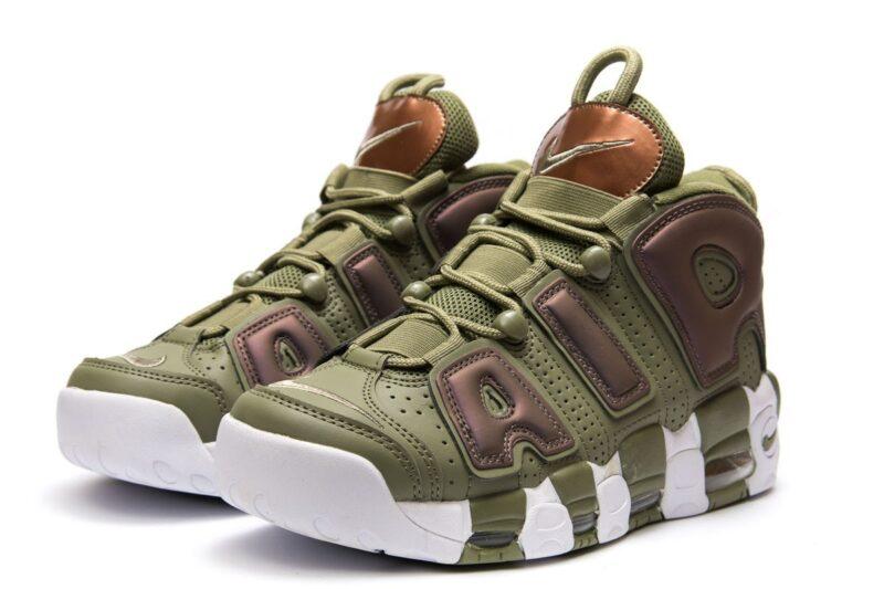 Nike Air More Uptempo зеленые-белые (35-45)