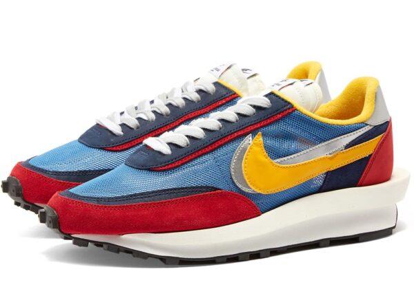 Nike Waffle Daybreak x Sacai синие-бордово-желтые с сеткой мужские (40-44)
