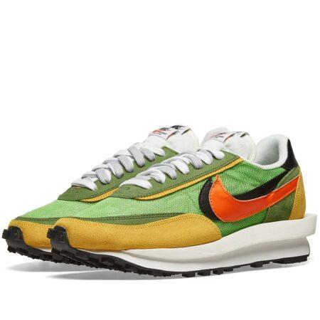 Nike Waffle Daybreak x Sacai зеленые-желто-оранжевые с сеткой мужские (40-44)