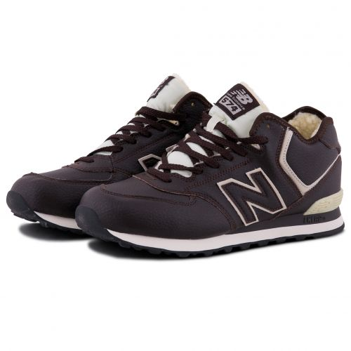 Зимние New Balance 574 Brown с мехом коричневые (40-45)