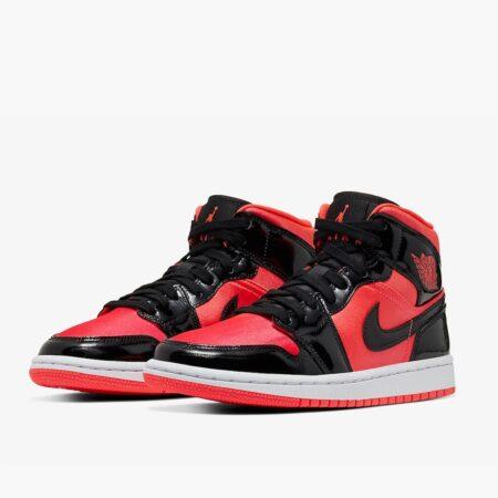 Nike Air Jordan 1 Mid Bright красно-черные кожа-нейлон мужские (40-45)