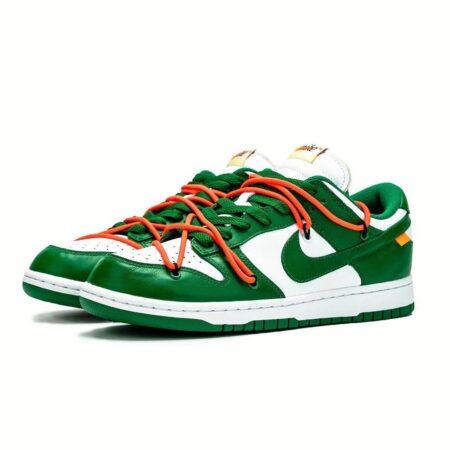 Nike Dunk Low off-White зелено-белые кожаные мужские (40-44)