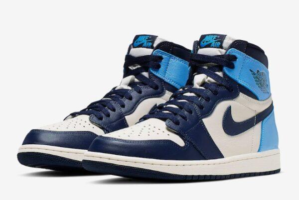 Nike Air Jordan 1 Obsidian сине-бело-голубые кожаные мужские-женские (35-44)