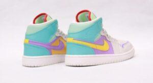 Nike Air Jordan 1 Retro серо-фиолетово-бирюзовые (35-39)