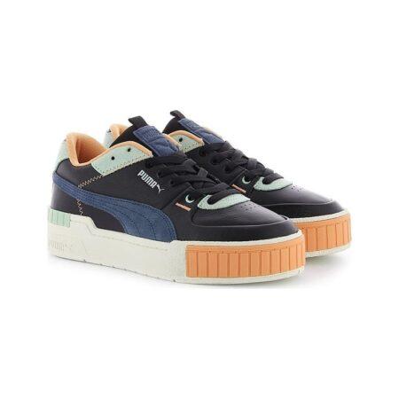 Puma Cali Sport Mix WN'S черно-сине-голубые кожа-замша женские (35-39)
