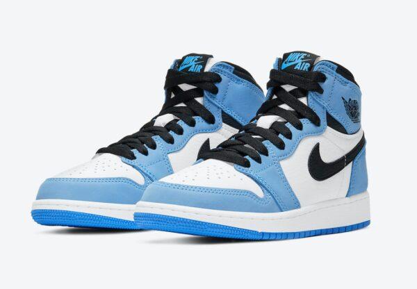 Nike Air Jordan 1 Mid University Blue бело-голубые кожаные мужские-женские (35-44)
